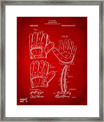 1910 Baseball Glove Patent Artwork Red Framed Print by Nikki Marie Smith