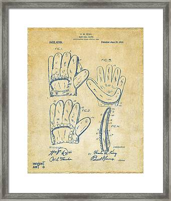 1910 Baseball Glove Patent Artwork Vintage Framed Print by Nikki Marie Smith