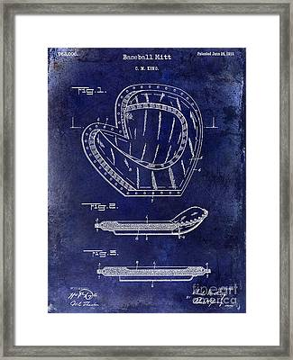 1910 Baseball Patent Drawing Blue Framed Print by Jon Neidert