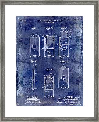 1910 Cigar Cutter Patent Drawing Blue Framed Print by Jon Neidert