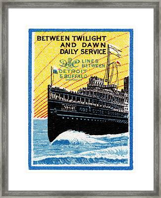 1910 Detroit To Buffalo Steamship Framed Print by Historic Image