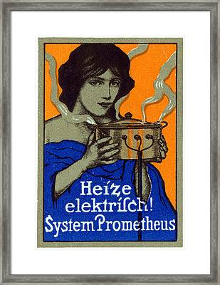 1910 Prometheus Electric Cooker Framed Print by Historic Image