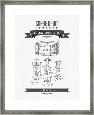1910 Snare Drum Patent Drawing Framed Print by Aged Pixel