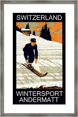 1910 Wintersport Andermatt Framed Print by Historic Image