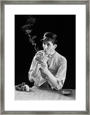 1910s 1920s Character Man Gambler Card Framed Print
