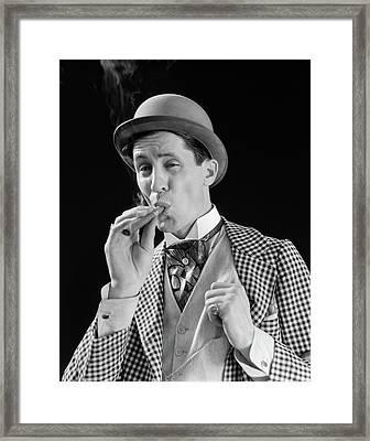 1910s 1920s Character Man Inhaling Framed Print