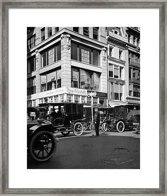 1910s A Policeman Controls Traffic Framed Print