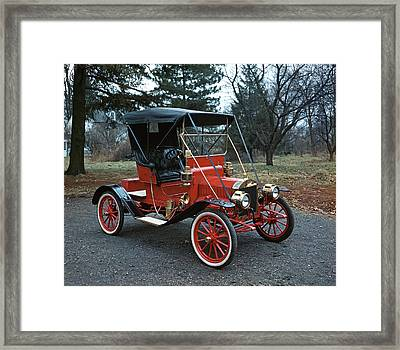 1910s Antique Red Ford Model T Roadster Framed Print