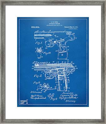 1911 Automatic Firearm Patent Artwork - Blueprint Framed Print