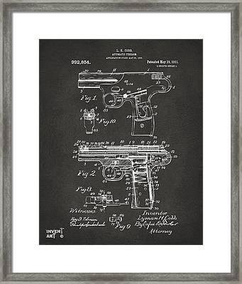 1911 Automatic Firearm Patent Artwork - Gray Framed Print by Nikki Marie Smith