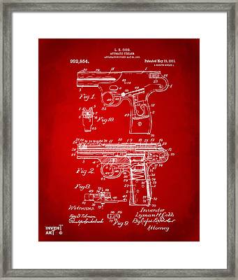 1911 Automatic Firearm Patent Artwork - Red Framed Print