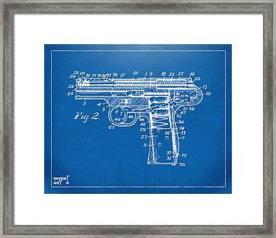 1911 Automatic Firearm Patent Minimal - Blueprint Framed Print by Nikki Marie Smith