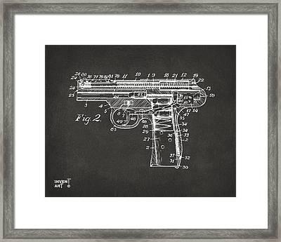 1911 Automatic Firearm Patent Minimal - Gray Framed Print by Nikki Marie Smith