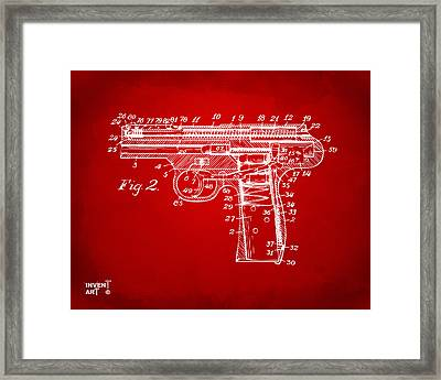 1911 Automatic Firearm Patent Minimal - Red Framed Print by Nikki Marie Smith