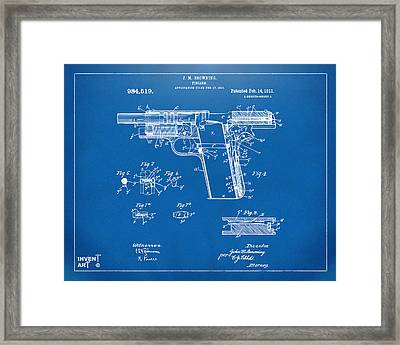 1911 Colt 45 Browning Firearm Patent 2 Artwork Blueprint Framed Print by Nikki Marie Smith