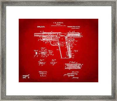 1911 Colt 45 Browning Firearm Patent 2 Artwork Red Framed Print by Nikki Marie Smith