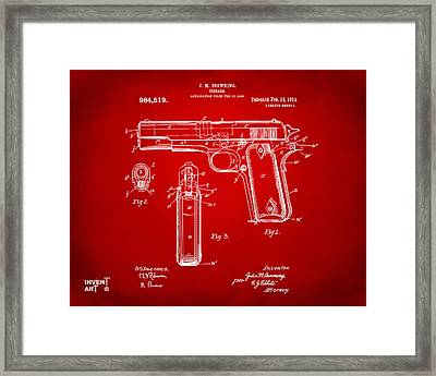 1911 Colt 45 Browning Firearm Patent Artwork Red Framed Print by Nikki Marie Smith
