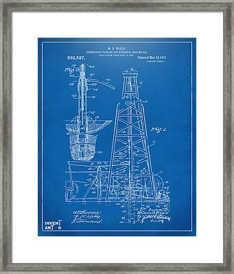 1911 Oil Drilling Rig Patent Artwork - Blueprint Framed Print