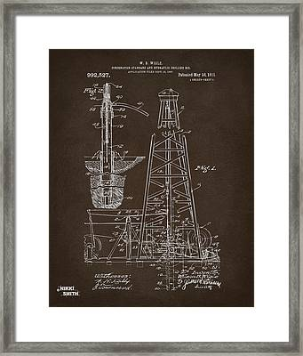 1911 Oil Drilling Rig Patent Artwork - Espresso Framed Print