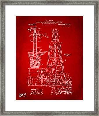 1911 Oil Drilling Rig Patent Artwork - Red Framed Print