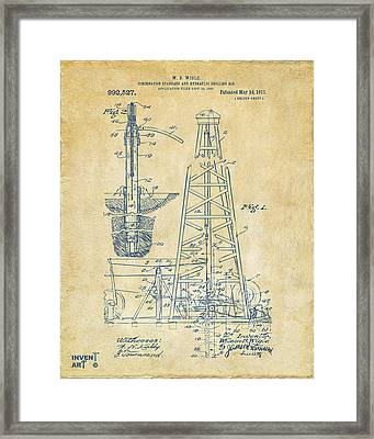 1911 Oil Drilling Rig Patent Artwork - Vintage Framed Print