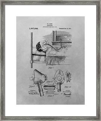 1911 Respirator Patent Drawing Framed Print