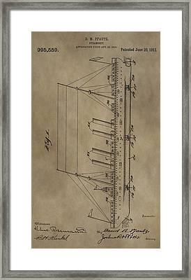 1911 Steamship Patent Framed Print