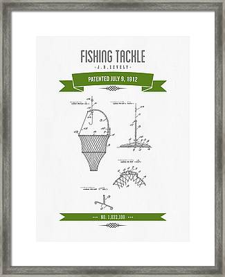 1912 Fishing Tackle Patent Drawing - Green Framed Print by Aged Pixel