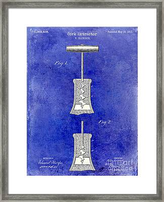 1913 Cork Extractor Patent Drawing 2 Tone Blue Framed Print by Jon Neidert