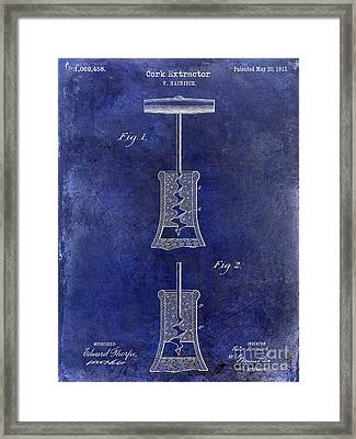 1913 Cork Extractor Patent Drawing Blue Framed Print by Jon Neidert