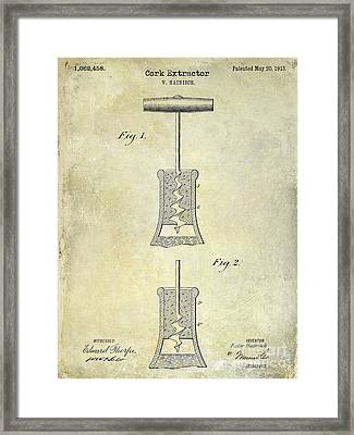 1913 Cork Extractor Patent Drawing  Framed Print