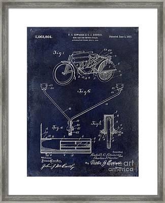 1913 Motorcycle Patent Drawing Blue Framed Print by Jon Neidert