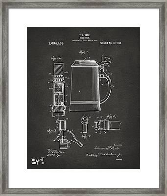 1914 Beer Stein Patent Artwork - Gray Framed Print