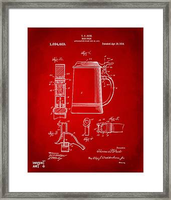 1914 Beer Stein Patent Artwork - Red Framed Print by Nikki Marie Smith