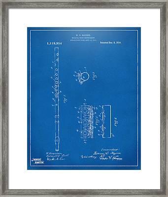 1914 Flute Patent - Blueprint Framed Print
