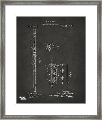 1914 Flute Patent - Gray Framed Print by Nikki Marie Smith