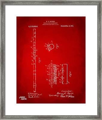 1914 Flute Patent - Red Framed Print