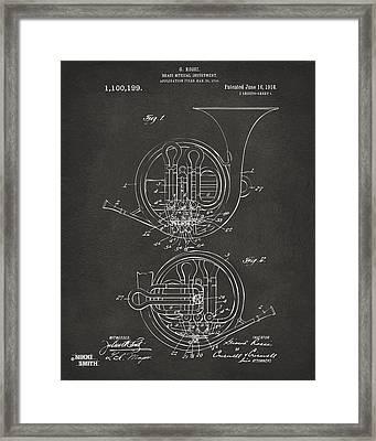 1914 French Horn Patent Art - Gray Framed Print