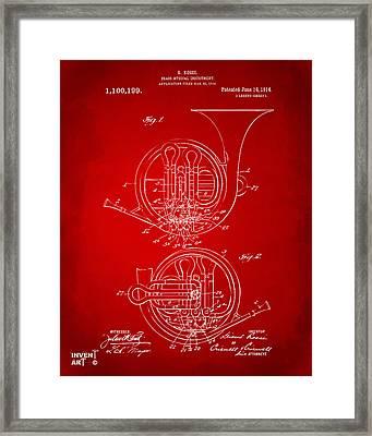 1914 French Horn Patent Art Red Framed Print
