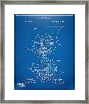 1914 French Horn Patent Blueprint Framed Print