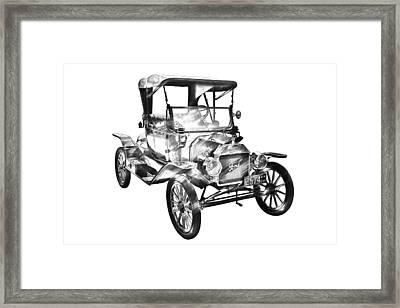1914  Model T Ford Antique Car Illustration Framed Print by Keith Webber Jr