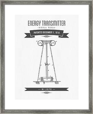 1914 Nikola Tesla Energy Trasmitter Patent Drawing - Retro Gray Framed Print by Aged Pixel