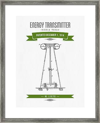 1914 Nikola Tesla Energy Trasmitter Patent Drawing - Retro Green Framed Print by Aged Pixel