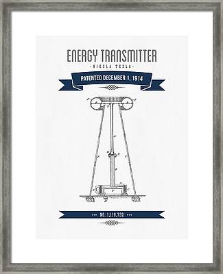 1914 Nikola Tesla Energy Trasmitter Patent Drawing - Retro Navy  Framed Print by Aged Pixel