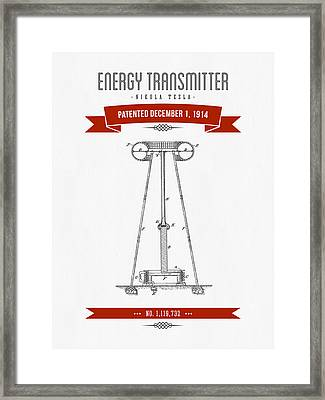 1914 Nikola Tesla Energy Trasmitter Patent Drawing - Retro Red Framed Print by Aged Pixel