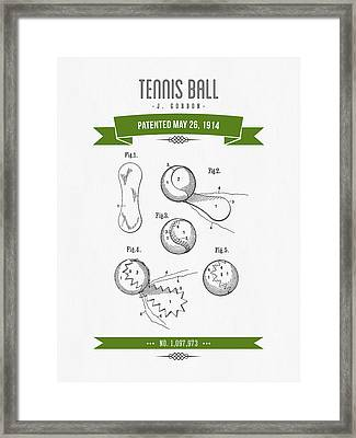 1914 Tennis Ball Patent Drawing - Retro Green Framed Print by Aged Pixel