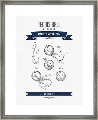 1914 Tennis Ball Patent Drawing - Retro Navy Blue Framed Print by Aged Pixel