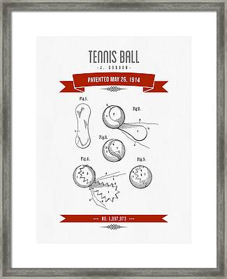 1914 Tennis Ball Patent Drawing - Retro Red Framed Print by Aged Pixel