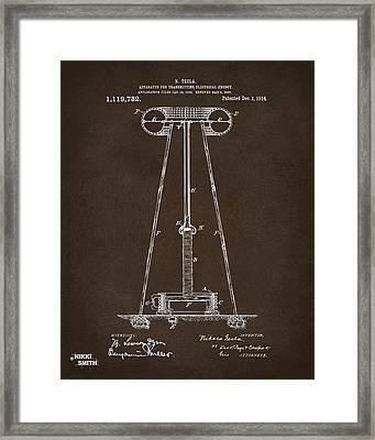 1914 Tesla Transmitter Patent Artwork Espresso Framed Print