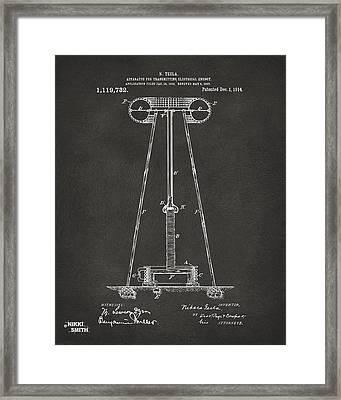 1914 Tesla Transmitter Patent Artwork - Gray Framed Print